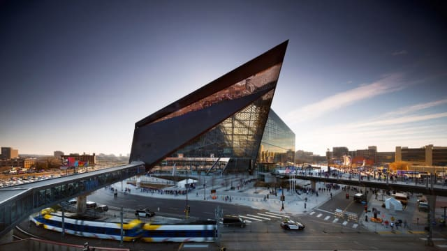 U.S. Bank Stadium, where the Eagles and Patriots will face off for Super Bowl LII. (Image courtesy of Nic Lehoux.)