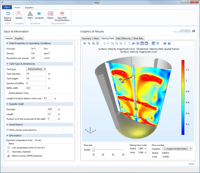 Example of a compiled simulation application from the new COMSOL Compiler. (Image courtesy of COMSOL.)