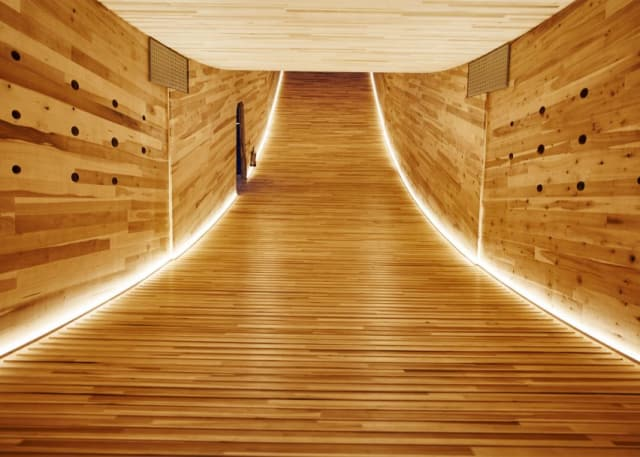 """Two years ago, architect Alison Brooks exhibited her Cross-Laminated Timber (CLT) structure """"The Smile"""" at the London Design festival. Since then, the interest in using CLT for larger buildings has grown. (Image courtesy of Alison Brooks.)"""