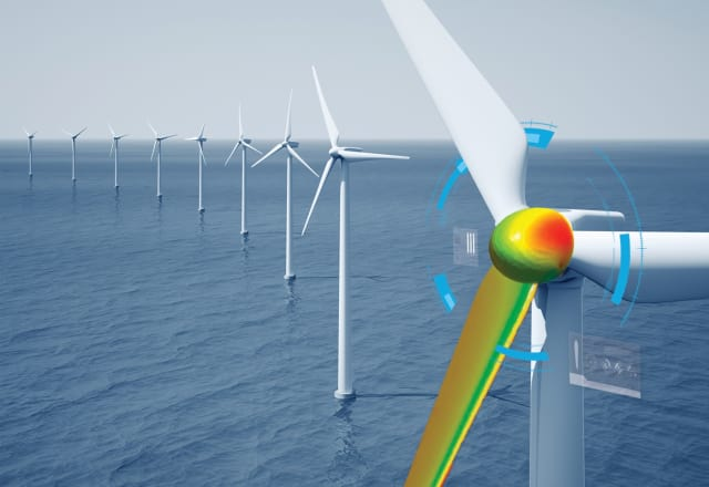 The renewable energy sector is a big FAN of digital twins. Get it? FAN! (Image courtesy of ANSYS.)