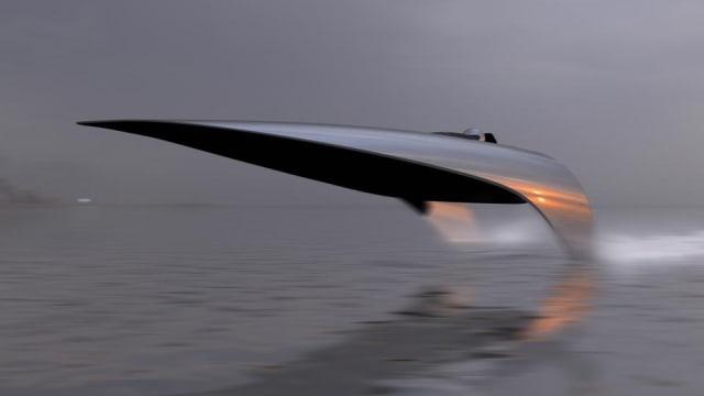 Conceptual design of electric RaceBird boat. (Photo courtesy of Seabird Technologies.)