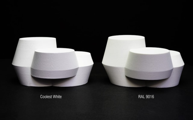 UNStudio and Monopol Colors showcase their reflective white fluoropolymer paint (left) next to the more traditional Traffic White (right). (Image courtesy of UNStudio and Monopol Colors.)