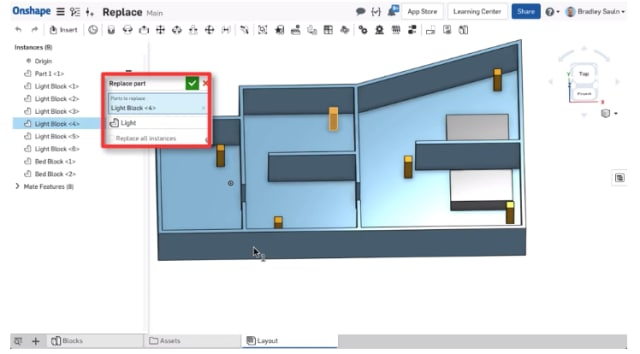 With a process that is simpler than in previous versions, the updated Onshape enables you to replace parts in an assembly with any other part. (Image courtesy of Onshape.)
