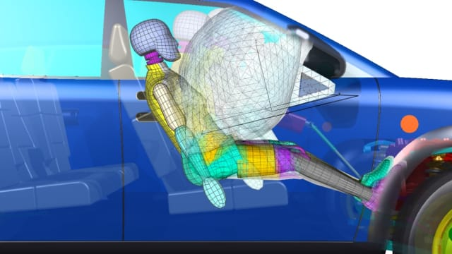 Dytran can simulate fluid-structure interactions, like a car airbag deploying on a passenger. (Image courtesy of MSC Software Corporation.)