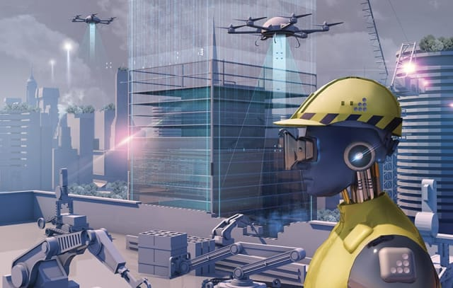 Artist rendering of robots and other autonomous devices building and assessing a construction site. (Image courtesy of Bim+.)