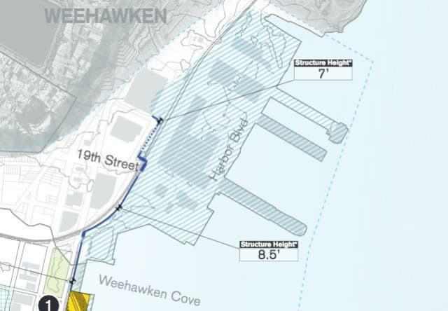 Part of the new Hoboken flood-proofing plan is a 7-to 8-foot-tall barrier protecting Weehawken Cove.