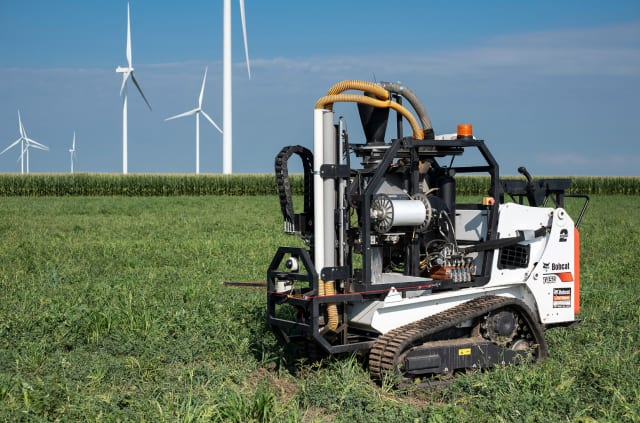 A pair of Purdue University graduates founded Rogo Ag, developer of an autonomous robot, SmartCore, that is designed to collect accurate, repeatable soil samples. (Image courtesy of Purdue Research Foundation/Oren Darling.)