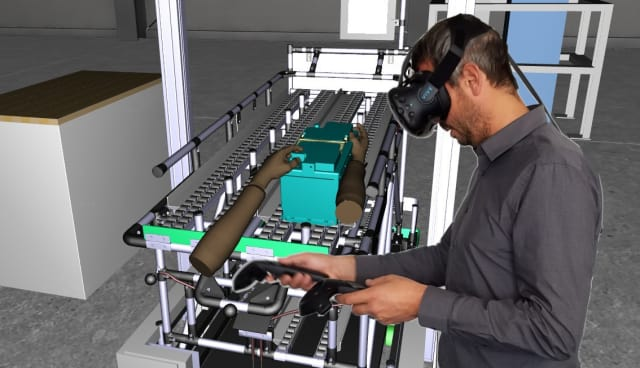 Assembly process review conducted using ESI IC.IDO 11 with an HTC Vive Headset and controllers. (Image courtesy of ESI Group.)