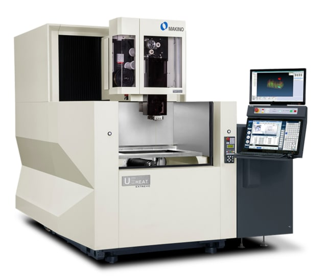 The new U6 H.E.A.T. Extreme is expected to increase speeds by more than 300% without raising manufacturing costs. It uses a .016-inch coated wire from bedra and has settings for two-pass machining to optimize productivity. (Image courtesy of Makino.)