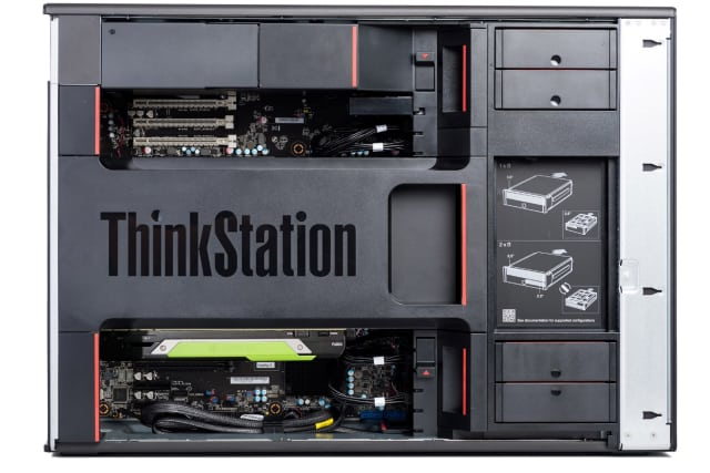 There is a massive amount of ports on the ThinkStation 920: two USB 2.0 ports, a parallel port, a serial port, a PS/2 port and FireWire port as well as eSATA and Ethernet. (Image courtesy of Lenovo.)