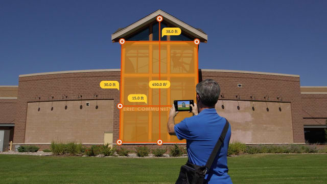 Spike enables AEC professionals to measure objects and structures using their mobile smart devices (Image courtesy of ikeGPS.)