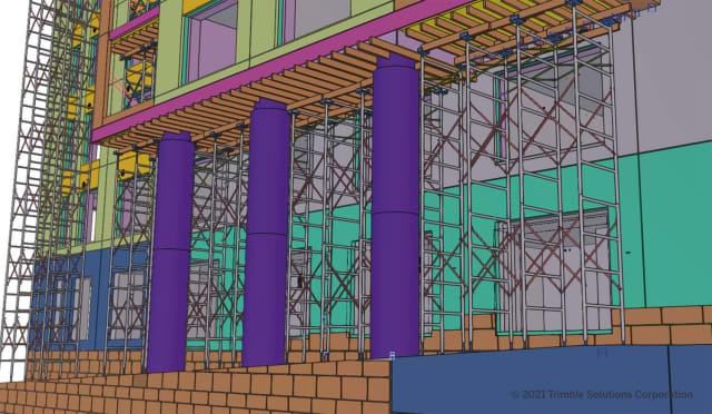Trimble's new Tekla 2021 Scaffolding Tools help customers plan and detail shoring and access scaffolding systems, making the detailing work more automated, accurate and efficient. (Picture courtesy of Trimble.)