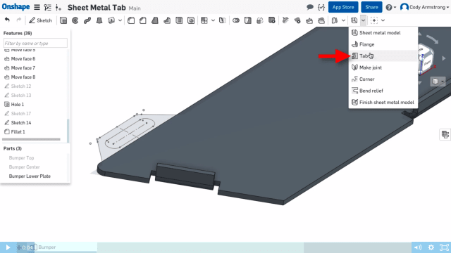 Tabs can now be created on your sheet metal drawings, which means that you can make multiple tabs with one feature. You can also enter the definition of a subtraction scope to subtract tabs from other parts. (Image courtesy of Onshape.)