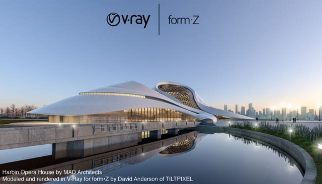 form•Z now has integrated V-Ray rendering support. (Image courtesy of form•Z.)