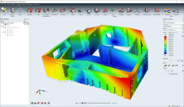 No defeaturing needed. Details of parts, like small holes, slots, fillets, etc., can now be included in Inspire, due to the integration of the SimSolid solver. (Image courtesy of Altair.)