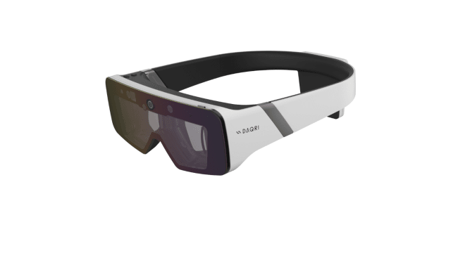The Microsoft HoloLens and DAQRI Smart Glasses (pictured here) do not have the processing power of a workstation computer, therefore they do not have the ability to offset latency levels to 5 milliseconds, which is the minimum acceptable level for a pleasant and unnoticeable visual lag. (Image courtesy of DAQRI.)