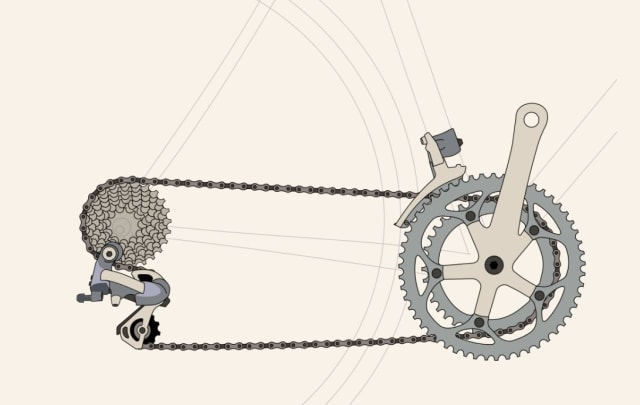 A conventional derailleur gear set. (Image courtesy of Keithonearth [CC BY-SA 3.0 (https://creativecommons.org/licenses/by-sa/3.0)].)