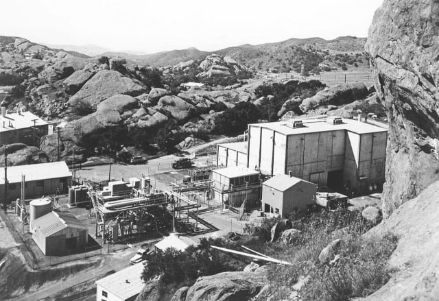 Not where you were expecting America's biggest nuclear accident? The Sodium Reactor Experiment (SRE) was one of 10 nuclear reactors in Area IV of the Santa Susanna Field Laboratory near Los Angeles. (Image courtesy of ACMELA.org)