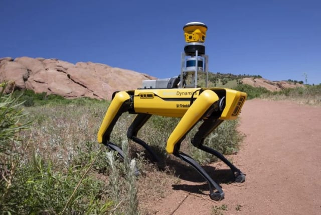 Boston Dynamics' Spot robot integrated with Trimble's sensors and scanners will make surveying and site scans easier and safer. (Image courtesy of Boston Dynamics.)