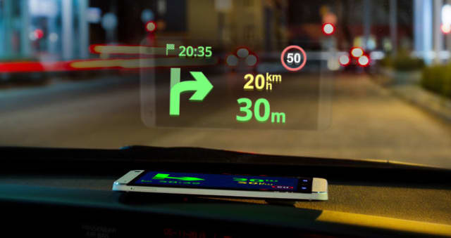 A heads-up display for automotive use. (Image courtesy of Sygic.)