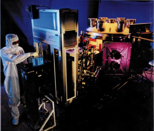This Extreme Ultraviolet Lithography tool at Lawrence Livermore National Laboratory coats super thin films on wafers to make integrated circuits that are completely defect-free. (Image courtesy of the U.S. Department of Energy.)
