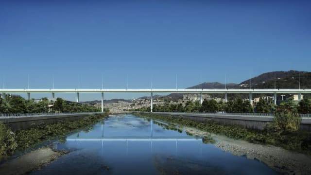 A rendering of Renzo Piano's planned bridge, which will replace the collapsed Morandi Bridge. (Image courtesy of Renzo Piano)