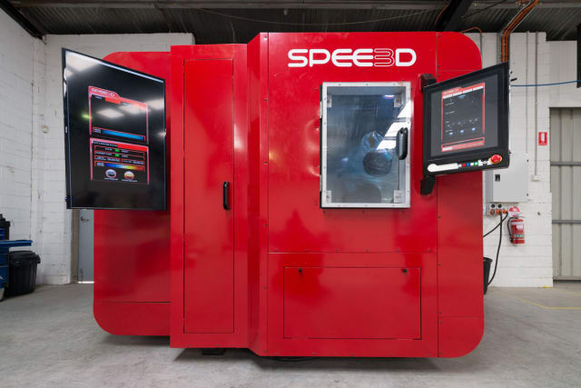 The LIGHTSPEE3D 3D printer from SPEE3D uses a supersonic deposition technique to 3D print metals at speeds that are 100 to 1,000 times faster than traditional metal 3D printing technologies. (Image courtesy of SPEE3D.)