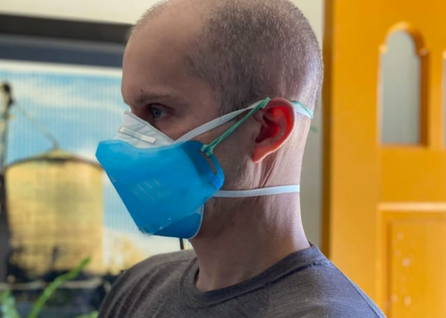 Jeremy and Amy Filko designed a 3D-printed shield for N965 masks. (Image courtesy of Amy and Jeremy Filko.)