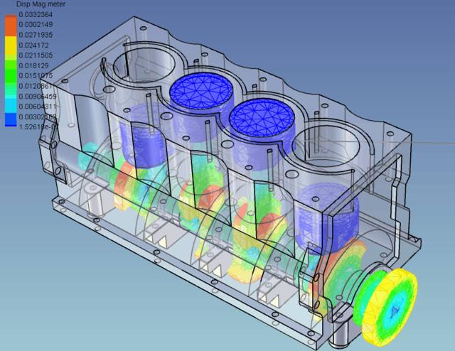 Inline four-cylinder motor piston-shaft-driveline rigid body hinge and linkage simulation. (Image courtesy of IronCAD.)