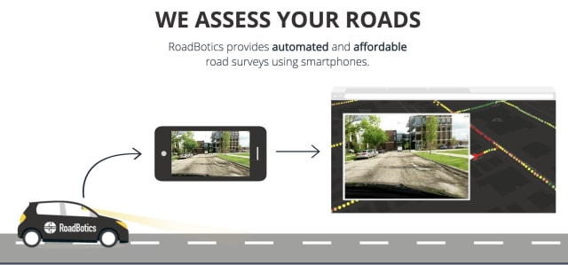 RoadBotics turns visual road scans into maps that show areas in need of repair. (Image courtesy of RoadBotics.)
