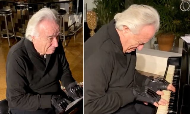 Brazilian pianist João Carlos Martins uses bionic gloves to play the piano after not being able to play for two decades. (Images courtesy of Instagram/João Carlos Martins.)