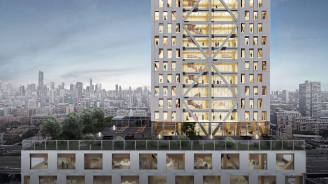 Look closely—it's made of wood. Exterior rendering of office and residential levels of Proto-Model X, Sidewalk Labs' model of a timber frame destined for the Toronto waterfront. (Image courtesy of Michael Green Architecture and Gensler.)