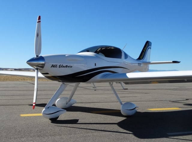 The Sun Flyer 4, a four-seat, propeller-driven, electric-powered plane is being prepared by Bye Aerospace in Englewood, Colo. Picture from Bye Aerospace.