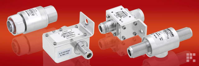 Coaxial surge and lightning protectors. (Image courtesy of Fairview Microwave.)