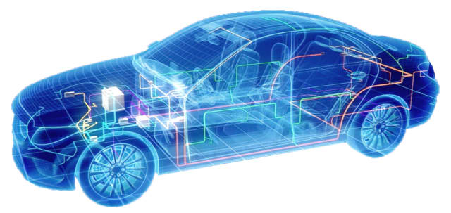 A render of automotive electrical systems. (Imagecourtesy of Siemens PLM.)