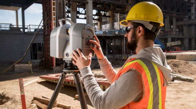 Setting up a 3D laser scanner enables the generation of millions of points to create a 3D composite of a construction site. Associated software allows that data to be shared remotely with essential construction teams. (Image courtesy of Trimble.)