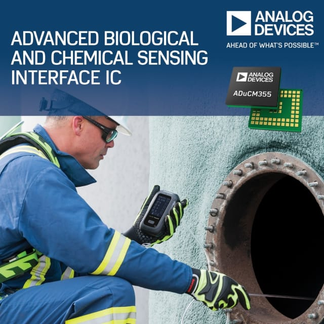 The ADuCM355 precision analog microcontroller. (Image courtesy of Analog Devices.)