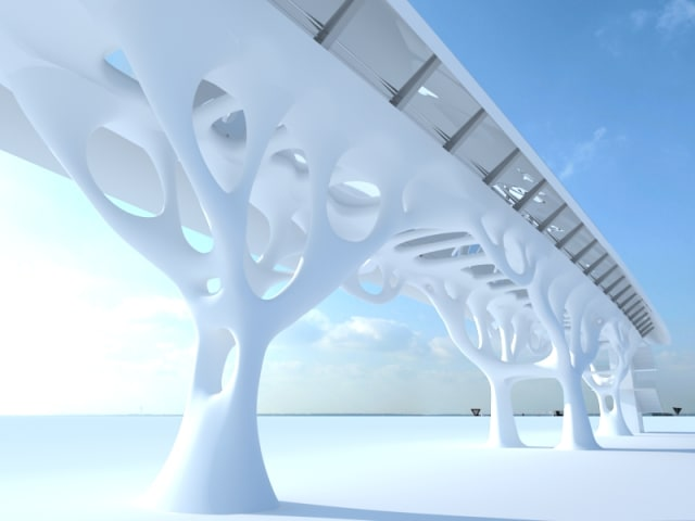 Luca Frattari, global director AEC at Altair, designed a walking bridge inspired by nature and using topology optimization. (Image courtesy of Altair.)