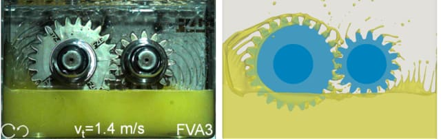Figure 1. Semi-immersed gearbox validation. (Image courtesy of NUMECA.)
