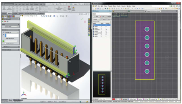 SOLIDWORKS and Altium Designer working on the same component with unified component data. (Image courtesy of SOLIDWORKS.)