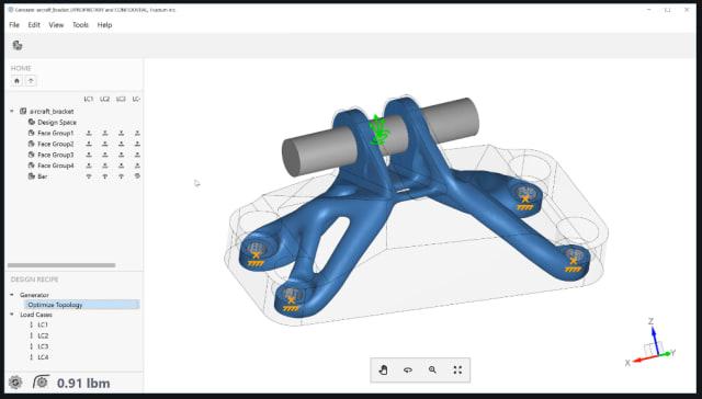 Figure 1.Optimized aircraft bracket in Frustum. (Image courtesy of Frustum.)