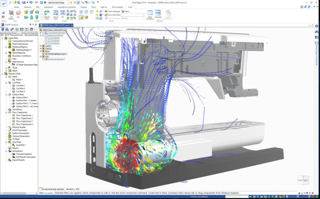 Fast fluid flow and heat transfer simulation and analysis are now incorporated into Solid Edge. (Image courtesy of Siemens.)