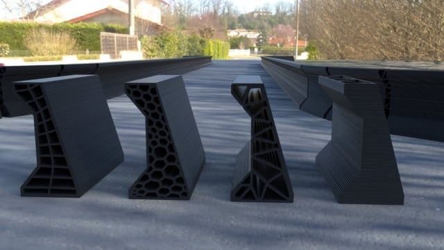 """""""Jersey barriers"""" 3D printed as part of a collaboration between NASA and Autodesk. (Image courtesy of Autodesk.)"""
