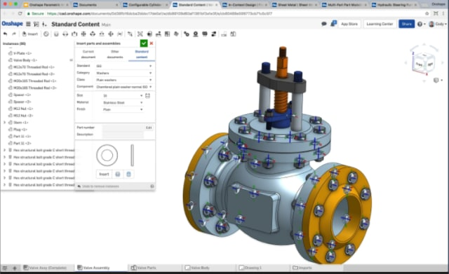 Newly introduced Standard Content library in Onshape. Making use of mates, bolts seem to drop into holes automatically and easily accept washers and nuts. (Image courtesy of Onshape.)