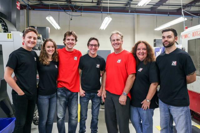 The Leszczynski family. From left to right: Joey, Monica, Jonnie, Michael, Lou, and Anna, as well as Mark Thibodeau. (Image courtesy of K4 Machining.)