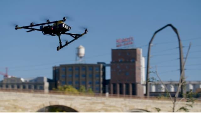 The Intel Falcon 8+ drone surveys Minneapolis' Stone Arch Bridge. (Image courtesy of Intel.)