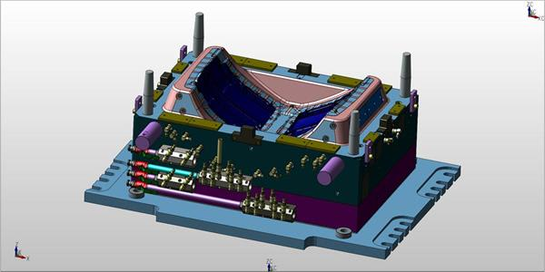 Kubotek3D claims that its new version of KeyCreator can spin this model of an injection mold 300 percent faster than KeyCreator 2018. (Image courtesy of Kubotek3D.)