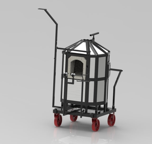 Figure 1. Mobile glassblowing furnace render. (Image courtesy of Mobile Glassblowing Studios.)