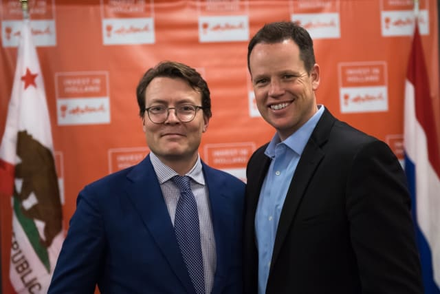"A Royal Treat: Jama CEO Scott Roth together with the Dutch Prince Constantijn. The Portland-based software company has great ambitions and is looking for business opportunities not only in the U.S. This picture was taken during a 2017 dinner that was a part of a Dutch economic mission to California,where Prince Constantijn, who serves as Special Envoy for Startups, was the guest of honor. The Netherlands has a reputation of being ""The World's High-Tech Startup Capital"" and Jama is one U.S. company with existing operations in the Netherlands. The Jama Product Development Platform—which CEO Scott Roth claims, ""Empowers large enterprises to accelerate development time, mitigate risk, slash complexity, and verify regulatory compliance""—has a promising future not only limited to the U.S. and last year received a $200M growth equity investment. While the U.S. is the dominating market for Jama, it has customers all over the world. U.K., Germany, Australia, and India are examples of markets where the firm has a number of customers, according to an iDatalabs study. (Image courtesy of Invest in Holland.)"