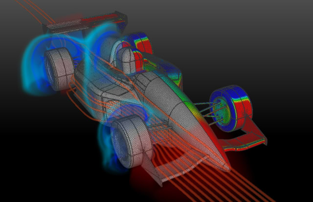 Visualization of large data sets, such as this CFD analysis, is a CEI forté. (Image courtesy of CEI.)